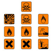 Set of chemicals hazard symbols, vector — Stock Vector