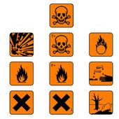 Set of chemicals hazard symbols, vector — Stock Vector