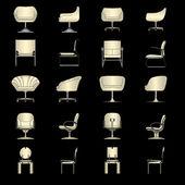 Набор современные кресла, вектор — Cтоковый вектор