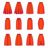 Set of woman skirts, vector — Stock Vector