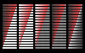 Red different loader progress bar, vector — Stock Vector