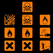 Set of chemicals hazard symbols — Stock Vector