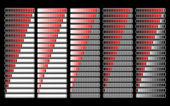 Barra di progresso rossa caricatore diverso, vettoriale — Vettoriale Stock