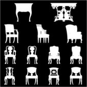 Set of Luxurious armchairs and tables, vector — Stock vektor