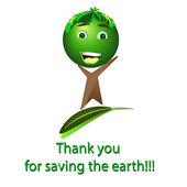árbol feliz - salvar la tierra de dibujos animados, vector — Vector de stock