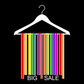 Colorful BIG SALE barcode clothes hanger, vector — Stock Vector