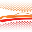 Red-orange car vector symbol, vector - Stock Vector