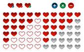 Colored heart favorite button, vector — Stock Vector