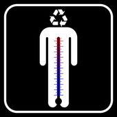 Eco mann symbol mit thermometer, vektor — Stockvektor