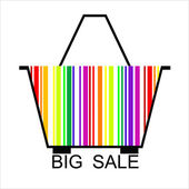 BIG SALE barcode Shopping basket, vector — Stock Vector