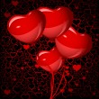 Royalty-Free Stock Imagem Vetorial: Bright red heart balloons background, vector