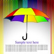 Colorful background with umbrella in the heart rain, vector — Imagens vectoriais em stock