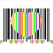 Colorful heart bar code, perfect for sale, vector — Stock Vector