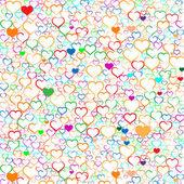 Renkli sevgililer günü arka plan kalpleri ile vektör — Stok Vektör