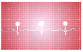 Heart and ecg from red ribbon — Stock Vector