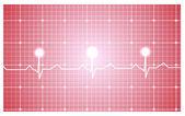 Serca i Ekg z czerwoną wstążką — Wektor stockowy