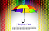 Farbigen hintergrund mit regenschirm im herzen regen, vektor — Stockvektor