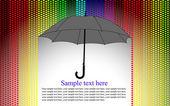 Colores de fondo con paraguas bajo la lluvia de corazón, vector — Vector de stock
