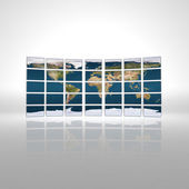 Monitor wall with earth map — Stock Photo