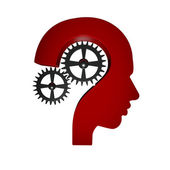 Question mark head mechanism symbol — Stock Photo