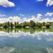 Stock Photo: Clouds reflecting on lake surface