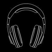 Simple Headphones in Silhouette, vector — Stock Vector