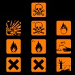 Stock Vector: Chemicals hazard symbols