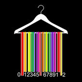 Colorful barcode clothes hanger — Stock Vector