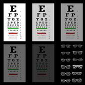 眼睛戴着眼镜的测试图、 矢量 — 图库矢量图片