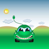 Character - eco electrical car on the field, vector — 图库矢量图片