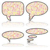 Social Media, communication bubbles with letters, vector — Stock Vector