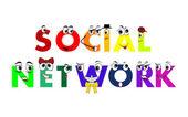 Personaggi di rete sociale, modelli collegati tra loro, vettoriale — Vettoriale Stock