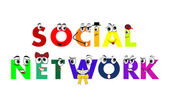 Social Network characters, models connected together, vector — Vettoriale Stock