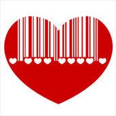 Barcode heart — Stock Vector