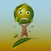 Cartoon sad tree - Please, save the earth, vector — Stock Vector