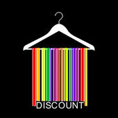 Colorful DISCOUNT barcode clothes hanger — Stock Vector