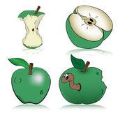 绿色苹果、 矢量 — 图库矢量图片