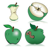 Manzanas verdes, vector — Vector de stock