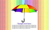 多彩背景与心雨中伞,矢量 — 图库矢量图片