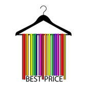 Colorful BEST PRICE barcode clothes hanger, vector — Stock Vector