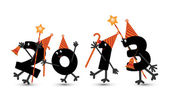 Comic 2013New Year's Eve character, vector — Stockvektor