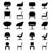 Set of Modern chair, vector — Stock Vector
