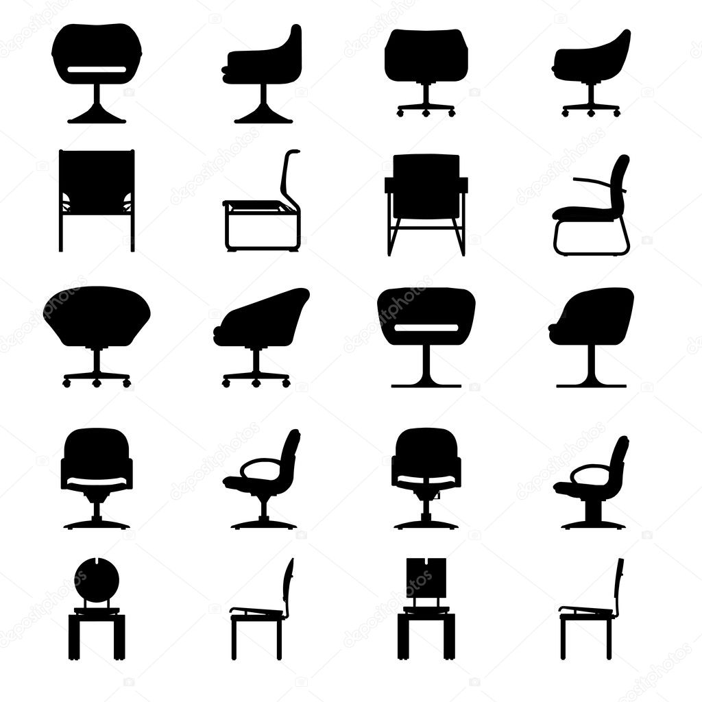 Chairs silhouettes Vector  Free Download