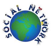 Global Social Network characters, vector — Stock Vector