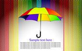 Colores de fondo con paraguas bajo la lluvia del corazón — Vector de stock