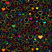 Colorful Valentine's day background with hearts, vector — Vector de stock