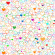 Colorful Valentine's day background with hearts, vector — Imagen vectorial