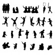 Vector set of children playing silhouettes — Stok Vektör