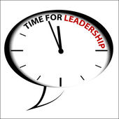 """Bubble Clock """"Time for leadership"""" — Stock Vector"""