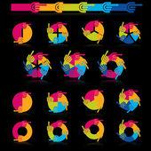 Colorful progress pie — Stock Vector